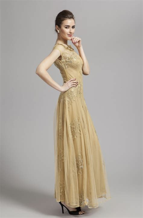 Gold Floor Length Dress by Floor Length Gold Tulle Prom Dress Backless Evening Gown