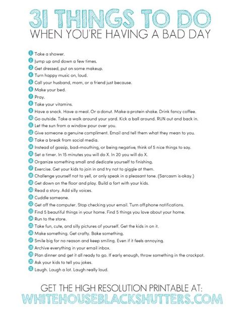 printable list of quotes printable list of 31 things to do to have a better day