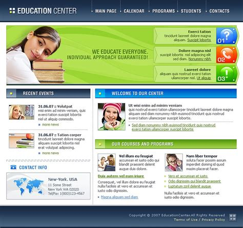 templates for learning website education website template 12909