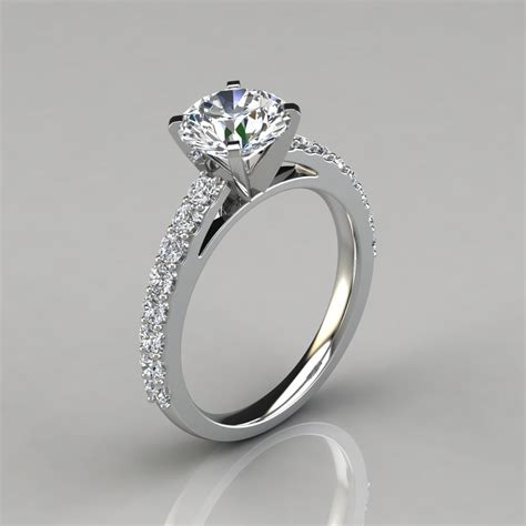 round cut cathedral style engagement ring forever moissanite