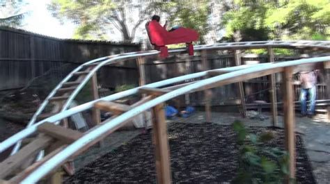 kids backyard roller coaster dad builds 180 foot roller coaster in his san francisco