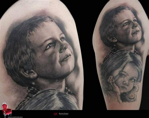 black and grey tattoo kit great realistic graphic kids portraits tattoo by piranha