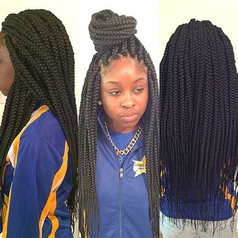 Long Medium Box Braids | medium size long box braids styled braids pinterest