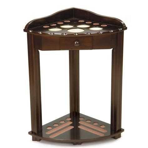 imperial deluxe corner cue rack with drawer antique walnut