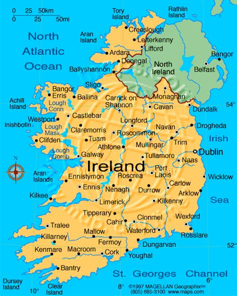 map of ireland with major cities ethemes country ireland