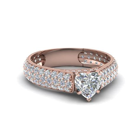 Pave Ring by Shaped Milgrain Multi Row Pave Engagement