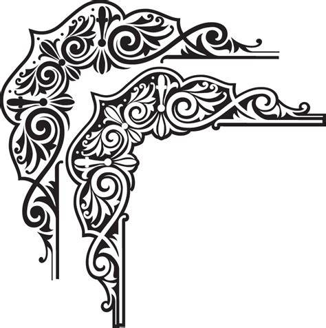 pattern frame corner image detail for indian style border vector graphic