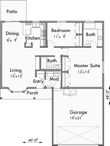 2 bedroom 2 car garage house plans small house plans 2 bedroom house plans one story house plans