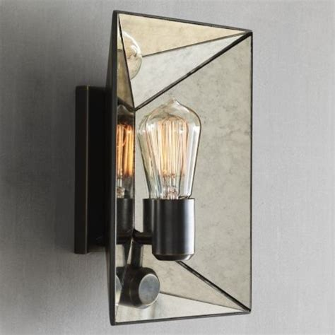 West Elm Wall Sconce faceted mirror sconce modern wall sconces by west elm