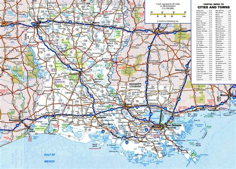 large detailed roads  highways map  louisiana state