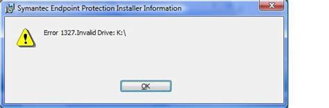 error 1327 invalid drive while installing or updating error while installing symantec endpoint protection