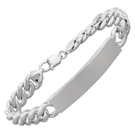 mens curb chain id bracelet in sterling silver