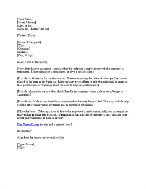 termination letter template due to lack of work free termination letter template sle letter of