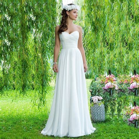 vestido de noiva simple pleated bodice summer bridal gowns
