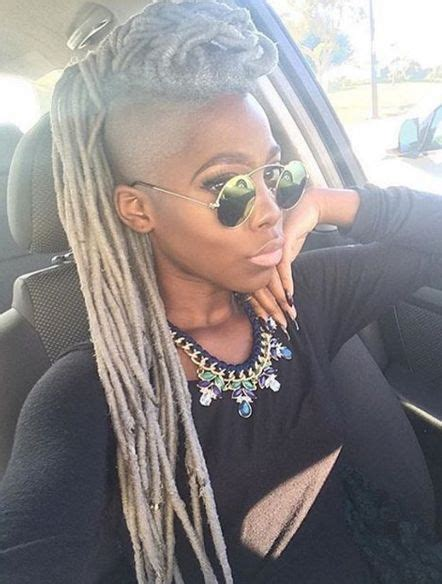 shaved nd dreads hair styles she s pulling off that grey tho beatricenikole http