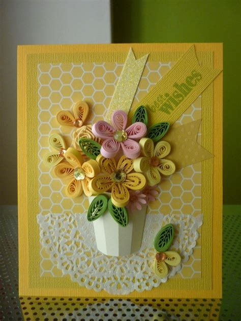 handmade yellow greeting paper quilling card quot best wishes