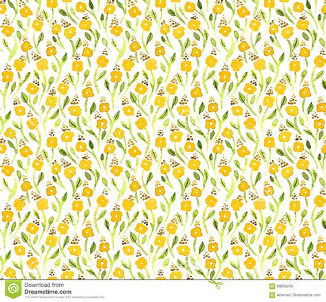 yellow watercolor pattern small watercolor yellow flowers pattern stock illustration
