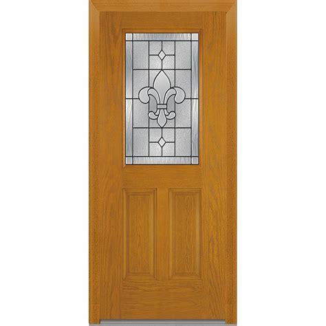Decorative Glass Exterior Doors Milliken Millwork 37 5 In X 81 75 In Carrollton Decorative Glass 1 2 Lite Oak Finished