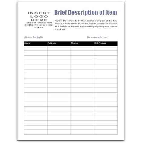 bid sheets for silent auction template free bid sheet template collection downloads for ms publisher