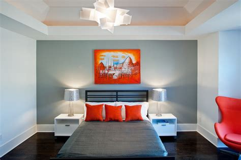 Modern Bedroom Orange Orange And Gray Modern Bedroom