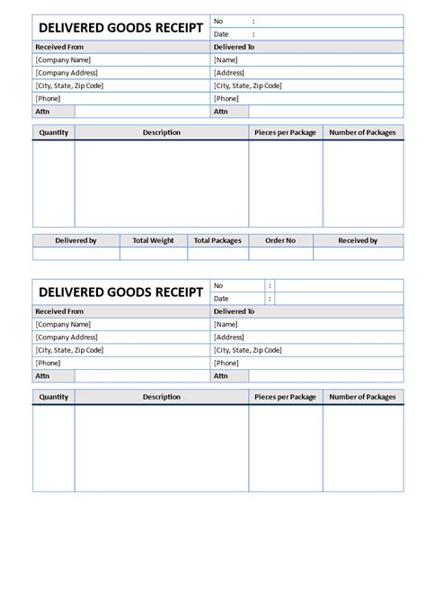 Goods Delivered Receipt | Templates at