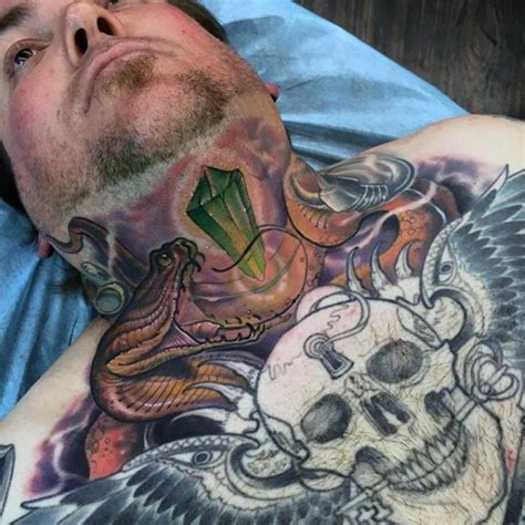 new school chest tattoo new school style colored chest tattoo of big snake with