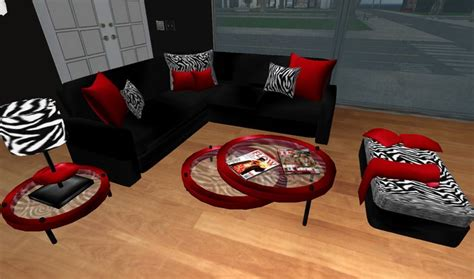 red and black living room furniture second life marketplace modern red black and zebra print
