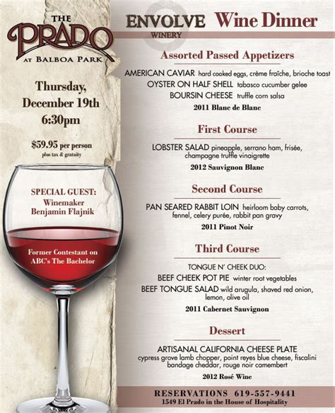 Envolve Wine Dinner at The Prado   Cohn Restaurant Group