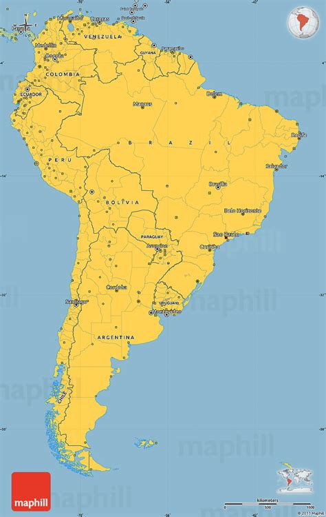 america map simple savanna style simple map of south america