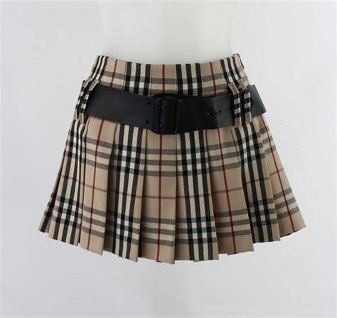 burberry black beige novacheck pleated skirt with