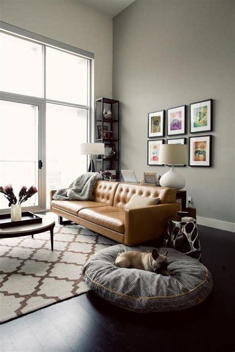 wall color for gray sofa caramel sofa against gray wall apartment 34 loft life