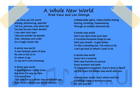 printable lyrics a whole new world a whole new world aladdin lyrics english worksheets