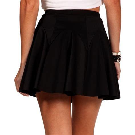 black pleated skater skirt polyvore