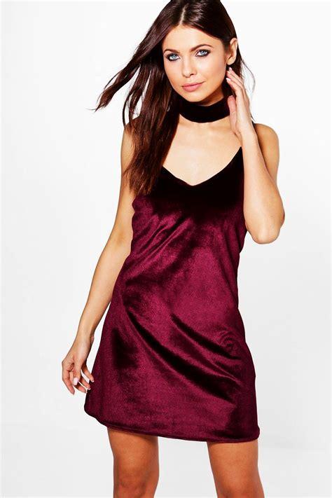 Velvet Slip Dress boohoo womens rosine velvet strappy choker slip dress ebay