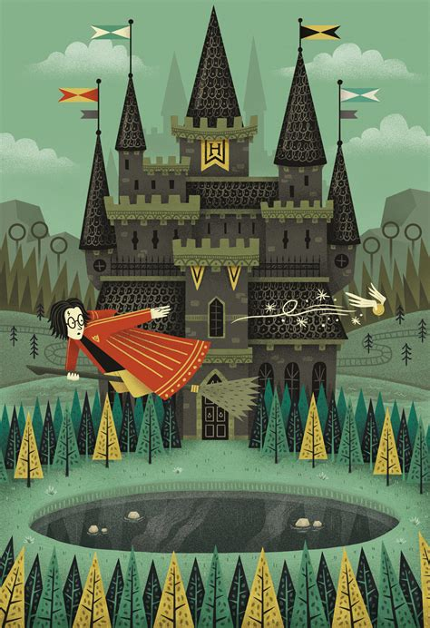 4 Houses Of Hogwarts by Hogwarts Victor Medina Illustration