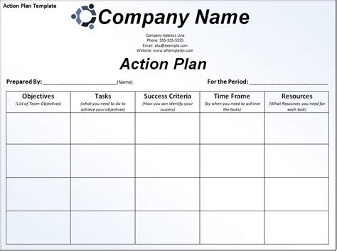 format of business action plan template excel templates