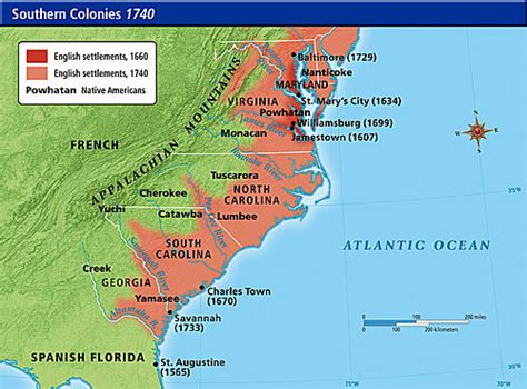 colonie map southern colonies