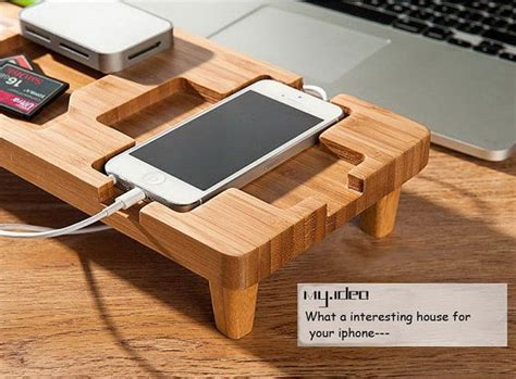 cool wooden desks unique bamboo iphone dock iphone docking station desk