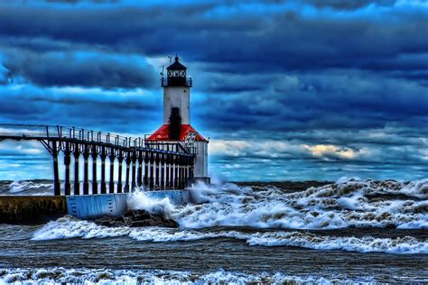 michigan city lighthouse by wood