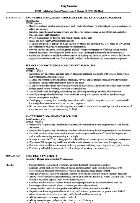knowledge management specialist resume sles velvet jobs