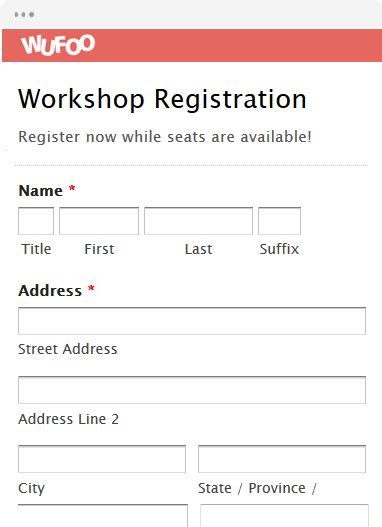 sle workshop registration form template registration form templates wufoo