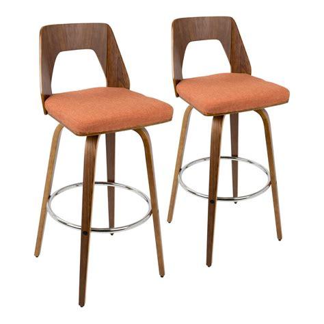 Orange Fabric Bar Stools by Lumisource Trilogy 30 In Bar Stool In Walnut And Orange