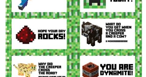 printable minecraft jokes free printable minecraft lunchbox notes note boys and