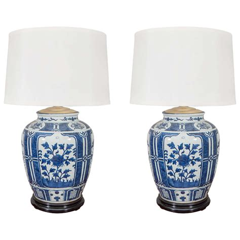 Blue And White Ceramic L Base by Pair Of Blue And White Porcelain Jars Wired As