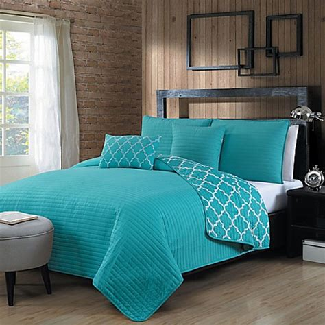 bed bath and beyond geneva geneva home fashions griffin quilt set in blue bed bath