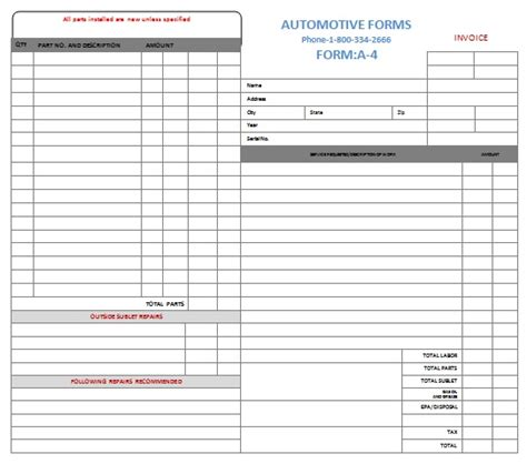 mechanic shop invoice templates 16 popular auto repair invoice templates demplates