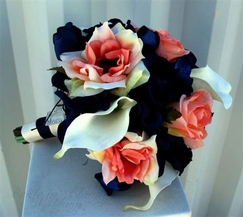 coral flowers coral navy blue bridesmaid bouquet coral navy white calla silk