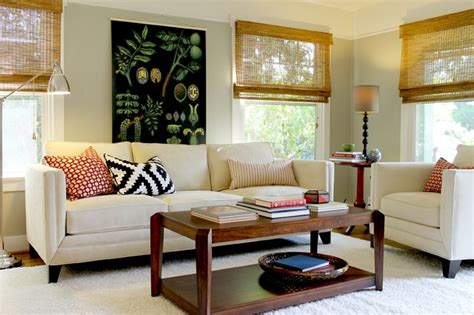 bungalow living rooms botanical chart in cottage style bungalow traditional