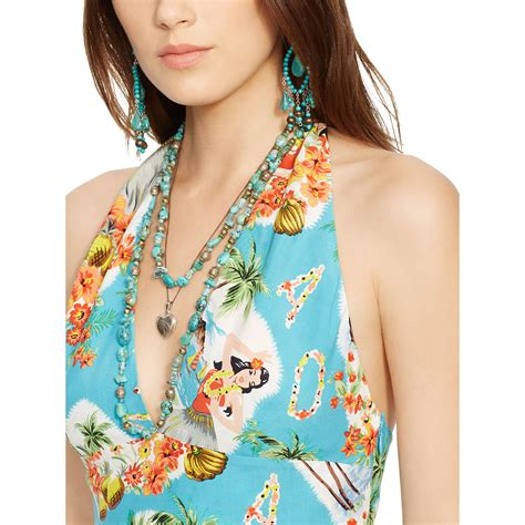 Print Halter Dress lyst polo ralph hawaiian print halter dress