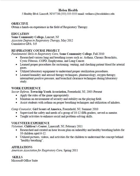 respiratory therapist resume templates health sciences major resume sle career connoisseur